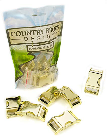 50 - Country Brook Design 1 Inch Contoured Brass Plated Side Release Buckles