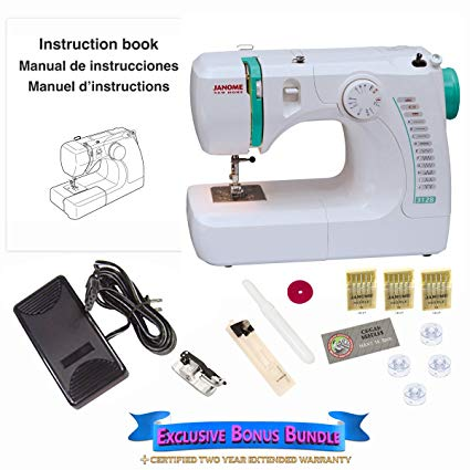 Janome 3128 Sewing Machine Bundle with 3 Packs of Size 12 Needles