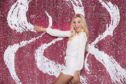B-COOL Elegant Reversible Sequin Fabric White & Fuchsia Shimmer Mermaid Sequin Fabric Emboridery Flip Up Sequin Fabric By 10FTx10FT Wedding backdrop