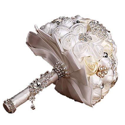 Tinksky Handmade Crystal Diamond Pearl Rhinestone Brooch Bridal Hold Flowers Wedding Bouquet Brooch