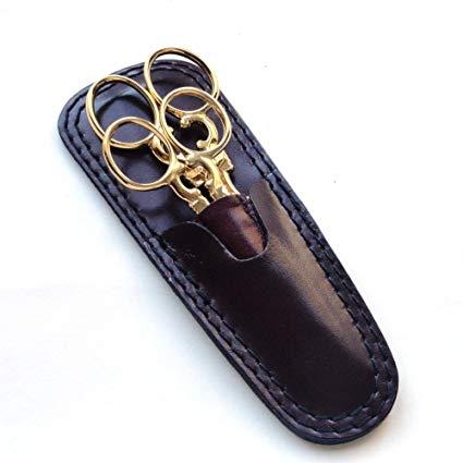 DOVO Specialty 2 Piece Scissor Set w/Burgundy Leather Sheaths