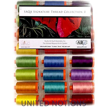 Aurifil Thread Set SAQA SIGNATURE COLLECTION II 50wt Cotton 12 Large Spools 1300M (1422 yd) each