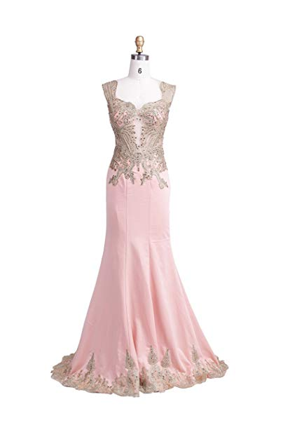 Dulamy&Finove Women Double Shouder V-neck Trailing Homecoming Prom Dresses (10, PINK)