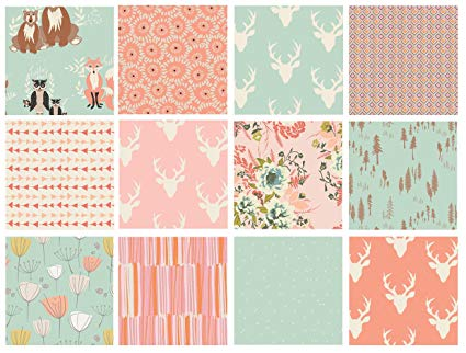 Woodland Fabrics for Girl's Room Nursery | Hello Bear Fat Quarters by Bonnie Christine for Art Gallery | Mint Peach Pink Quilt Bundle with Forest Animals (Yards)